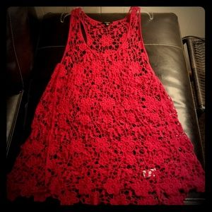 Red flower crochet tank top